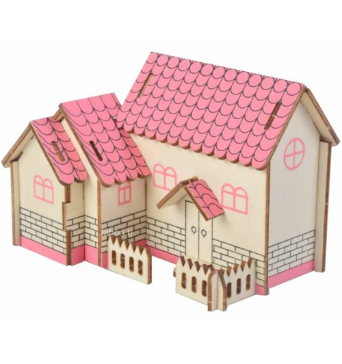 """Конструктор: Сборная деревянная модель """"Пурпурный домик"""" 3D"""